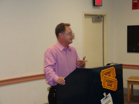 Film critic Ty Burr addressing the audience at the 2009 Annual Meeting of the Friends of the West Roxbury Library.
